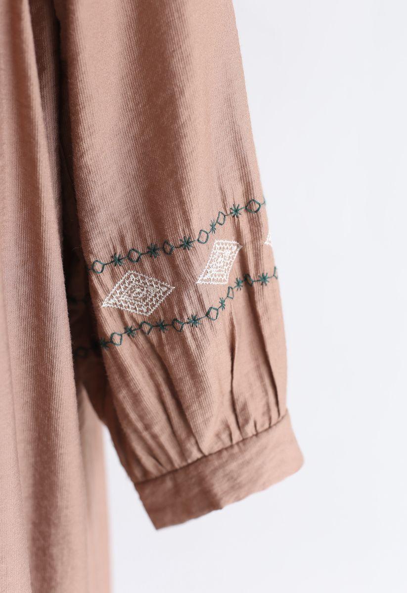 刺繍スリーブワンピース ベージュ