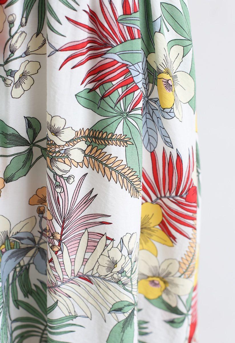 花柄ホルターネックマキシワンピース