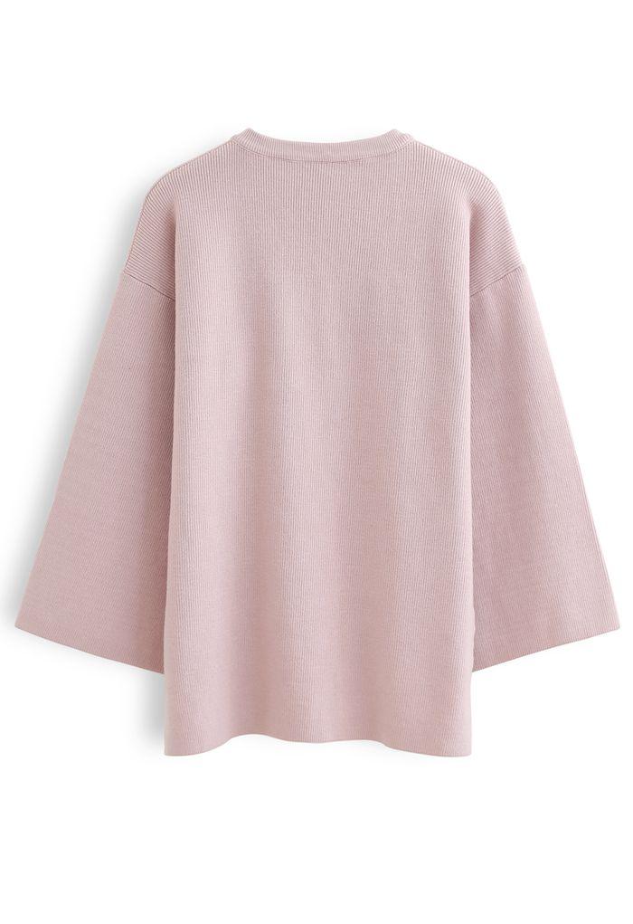 フレアスリーブニット ピンク