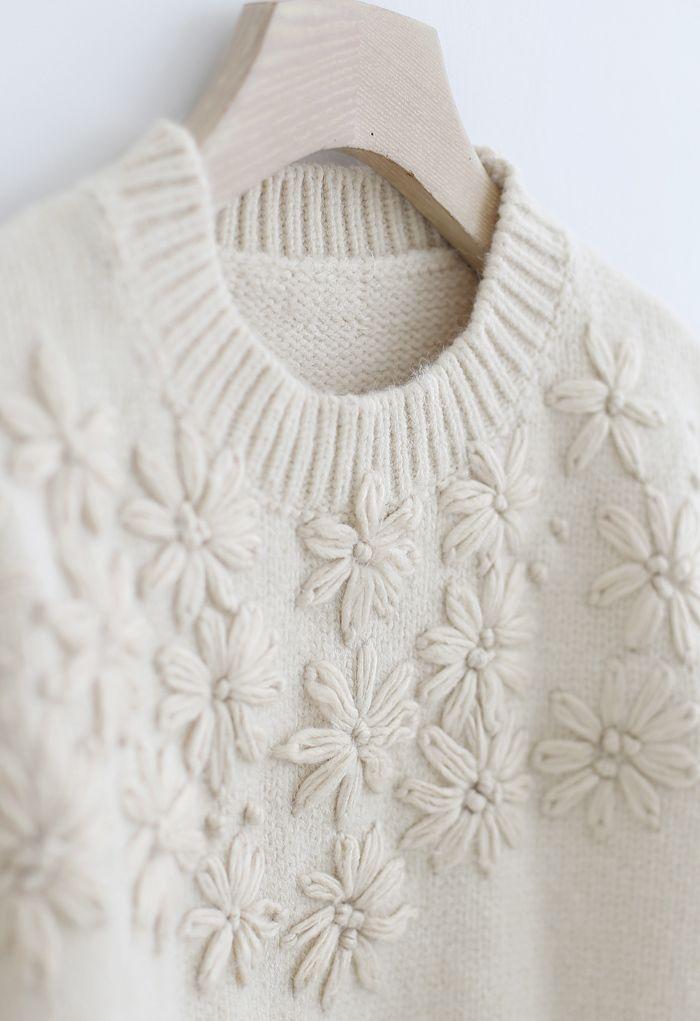 花ステッチパフスリーブセーター