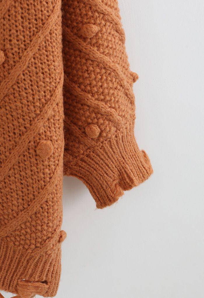 ポンポン付きオーバーサイズセーター オレンジ