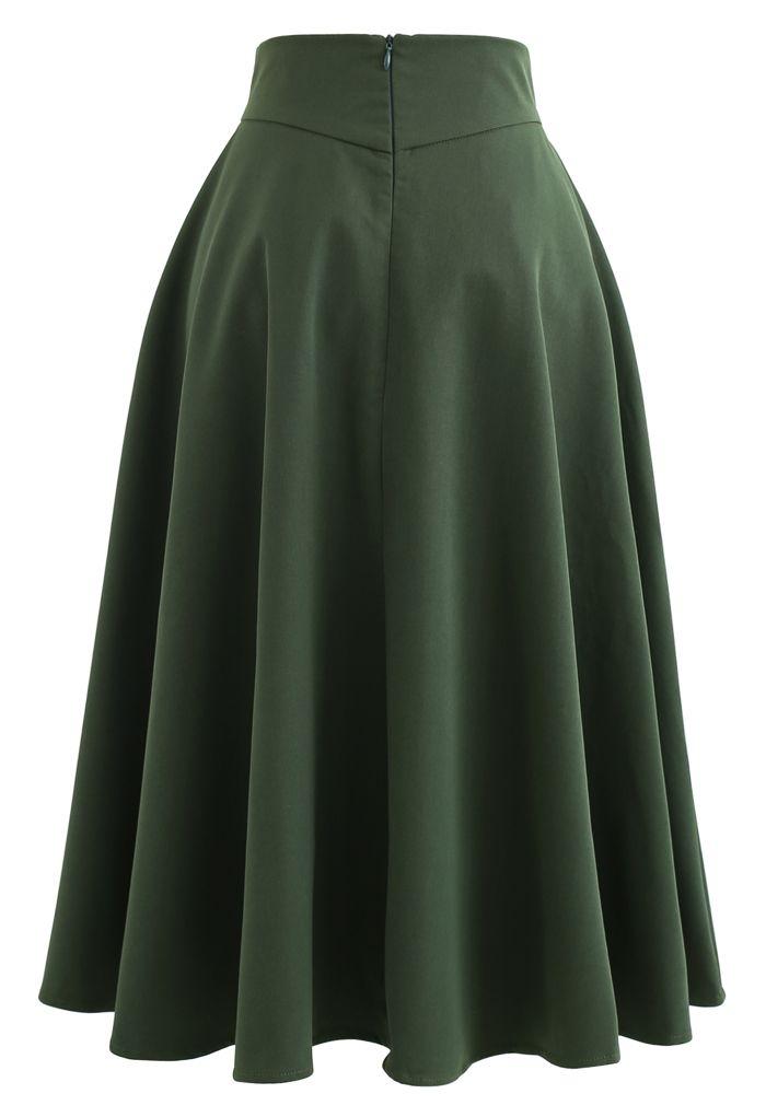 サイドポケットAラインスカート グリーン