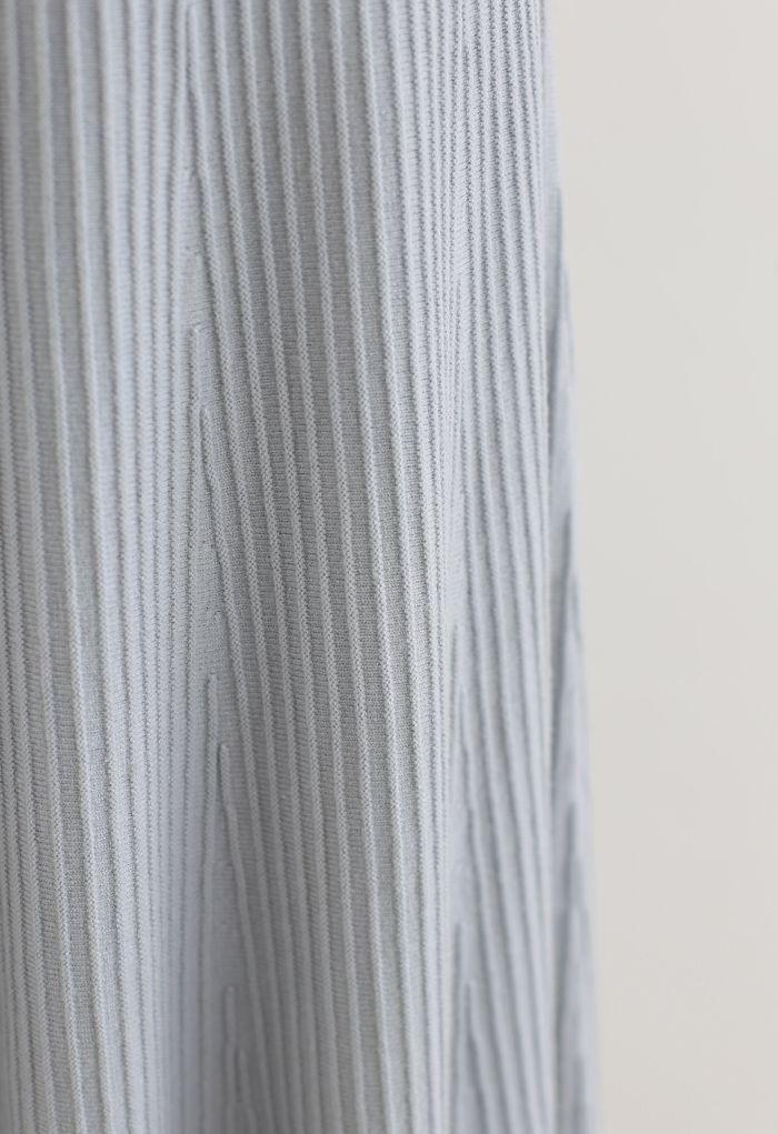 Aラインレースヘムニットスカート ダスティブルー