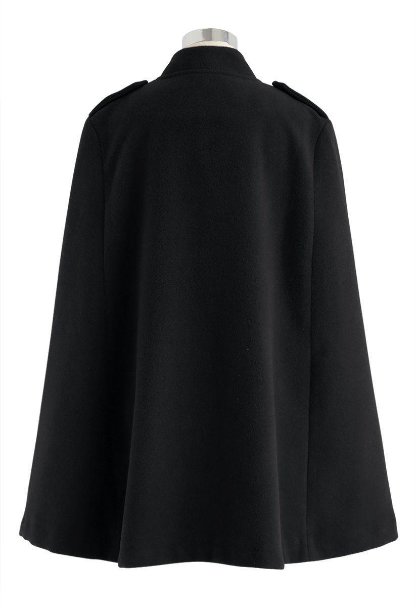 ダブルブレストケープコート ブラック