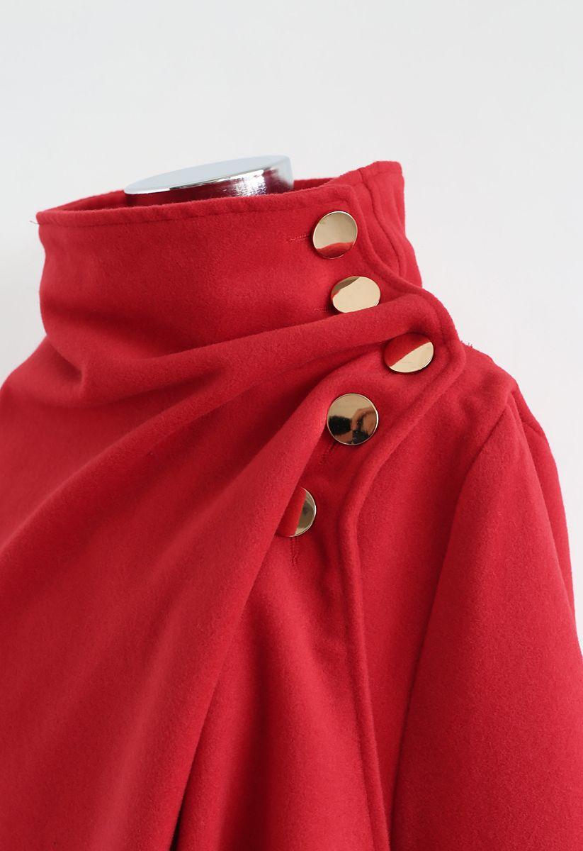 非対称裾ボタンラップケープコート レッド