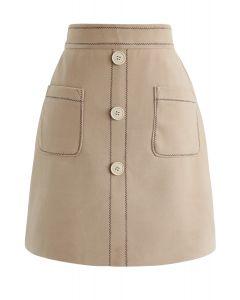 ポケットボタン付きミニスカート ベージュ