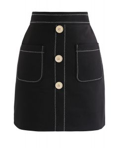 ポケットボタン付きミニスカート ブラック
