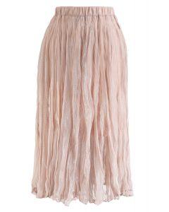 セミシアーメッシュプリーツスカート ピンク