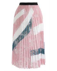 花柄メッシュプリーツスカート ピンク