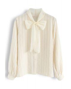 メッシュボーノット付きシャツ アイボリー