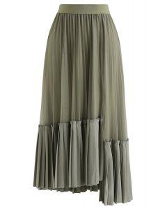 非対称裾プリーツスカート オーリブ