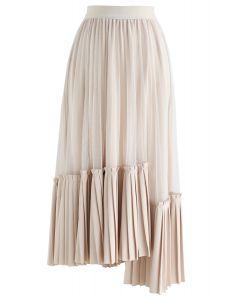 非対称裾プリーツスカート アイボリー
