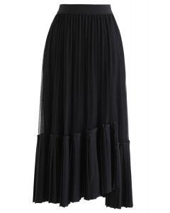 非対称裾プリーツスカート ブラック