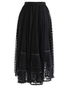 レースプリーツメッシュスカート ブラック