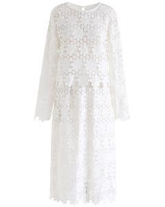 クロッシェレーストップスxスカート セットアップ ホワイト