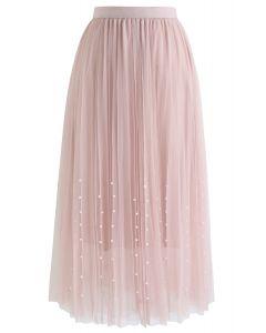 パールビーズ付きメッシュチュールプリーツスカート ピンク