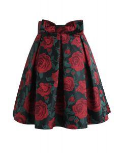 ローズ花柄プリーツミニスカート