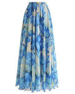 ブルー水彩マキシスカート