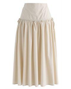 ハイウエストAラインスカート サンド