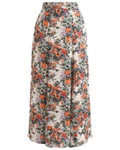フローラルフリル裾スカート