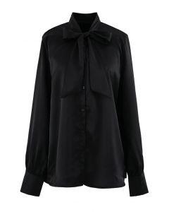 ボウノットネックシャツ ブラック