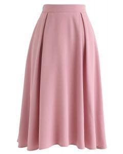プリーツAラインスカート ピンク