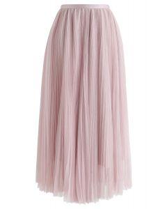 メッシュプリーツスカート ピンク