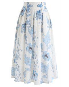 ブルー花柄刺繍スカート