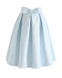 ボウノットプリーツジャカードスカート ブルー