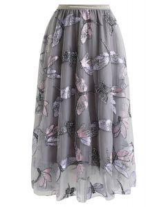 刺繍チュールスカート グレー