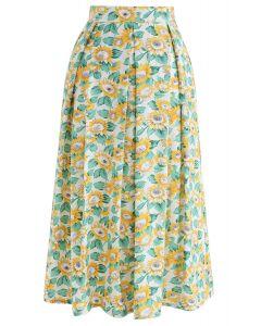 ひまわりプリントAラインスカート