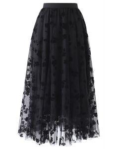 3Dダブルレイヤードメッシュスカート ブラック