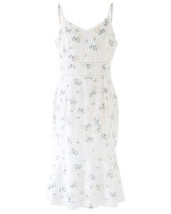 花柄ボディコンキャミワンピース ホワイト
