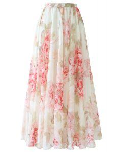 花水彩柄マキシスカート