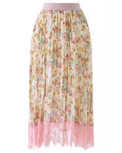 花水彩柄プリーツシフォンスカート ピンク