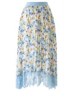 花水彩柄プリーツシフォンスカート ダスティブルー
