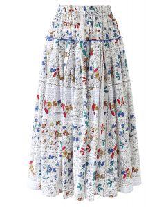 花柄ラッフルプリーツスカート