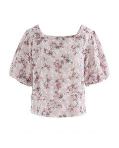 花柄刺繍ボリュームスリーブシフォントップス ピンク