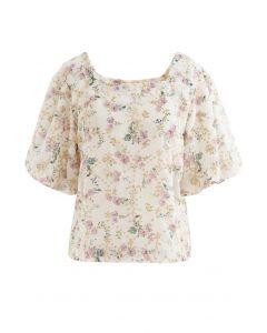 花柄刺繍ボリュームスリーブシフォントップス アイボリー
