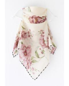 花柄シフォンマスク ホワイト