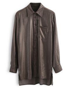 スプリットハイローシャツ ブラウン