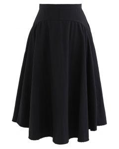 Aライン非対称フレア裾スカート  ブラック