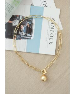 Golden Ball Oval Chain Necklace