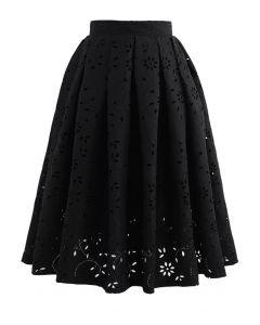 花カットワークジャカードスカート ブラック