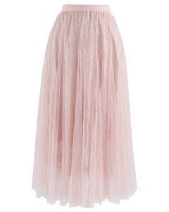 レースメッシュチュールスカート ピンク