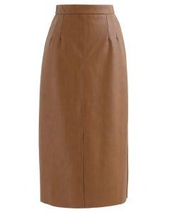 ベント裾フェイクレザースカート ブラウン