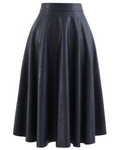 フェイクレザー Aラインスカート ネイビー