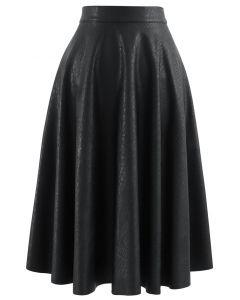 フェイクレザー Aラインスカート ブラック