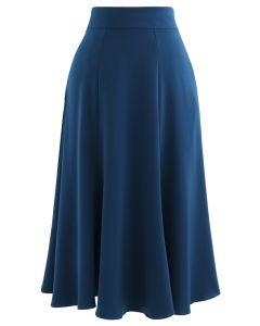 サテンAラインスカート ブルー
