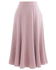 サテンAラインスカート ピンク